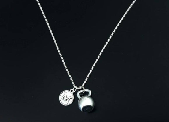 Kettlebell charm pendant with  initial hand stamped, personalized necklace