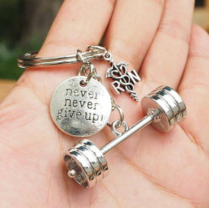 3D Barbell with Never never give up/ RN Keychain