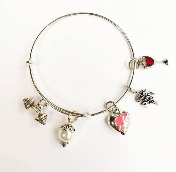 Expandable Bangle with RN , wine, lift like a girl Charms