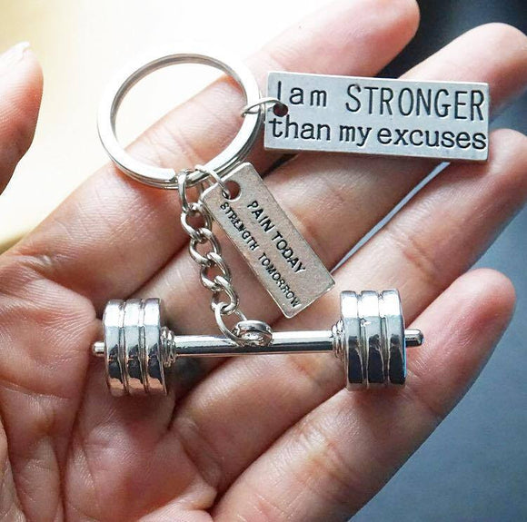 3D Barbell with I AM STRONGER THAN MY EXCUSES/ Pain Today Strength Tomorrow Keychain