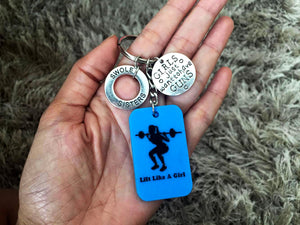 LIFT LIKE A GIRL KEYCHAIN with SWOLESISTERS Charms