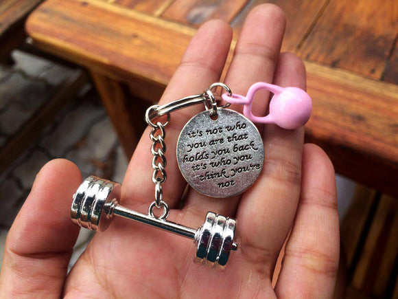 3D Barbell with It's not who you are that holds you back it's who you think you're not/ Pink Kettlebell Keychain