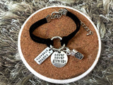 Leather Bracelet with Never never give up, Coffee charm and I choose Strength