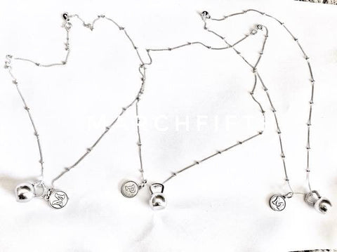 "925 Sterling Silver Necklace ""Kettlebell with Letter Initial"""