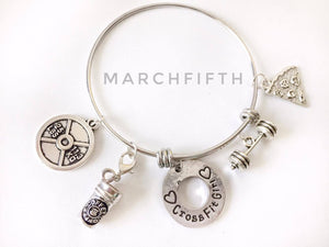 Expandable Wire Bangle CrossFit Girl, Barbell,pizza,coffee and 25lbplate Charms