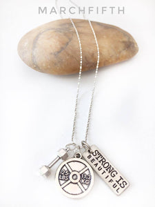 "925 Sterling Silver Chain Necklace with ""Motivational and fitness charms"""