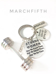 3D Barbell / Strong Women + Fearless /Never never give up Charms