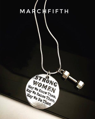 """STRONG WOMEN"" dumbbell pendant Necklace"