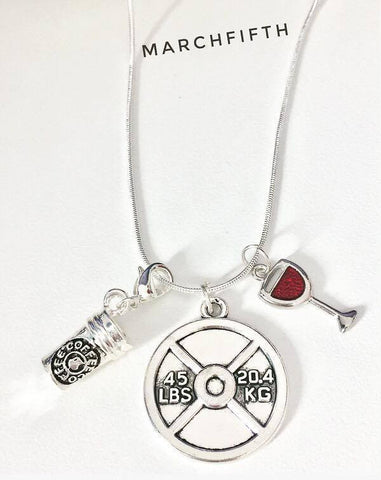 3 Charms Necklaces (Wine, Liftlike a Girl, Pizza, Coffee, RN)