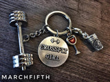 """CROSSFIT GIRL"" Charm with Barbell ,red and pink kettlebell ,45lbs keychain"