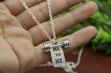3D Barbell with Motivational Quote Charm Necklace