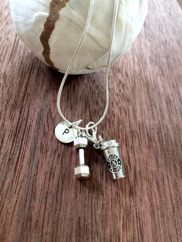 "925 Sterling Silver Necklace ""Coffee charm/dumbbell/Letter Initial"