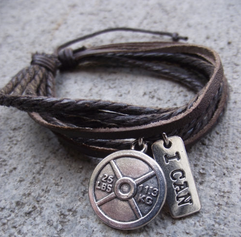 Leather BRACELET with Fitness Charm