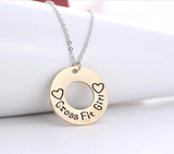 Round style engrave double heart word CrossFit Girl Choker