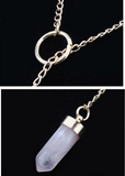 Pink Crystal Stone Bullet Pendant Necklace