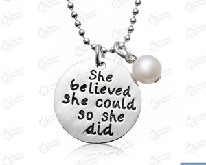 """She believed she could so she did"" with pearl Silver Necklace"