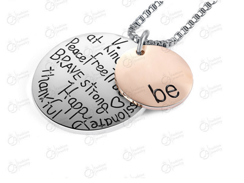 """BE"" Two-Tone Antique Silver Necklace"