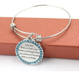 "Expandable Bracelet """"YOU ARE BRAVER THAN YOU BELIEVE,STRONGER THAN YOU SEEM AND SMARTER THAN YOU THINK"""