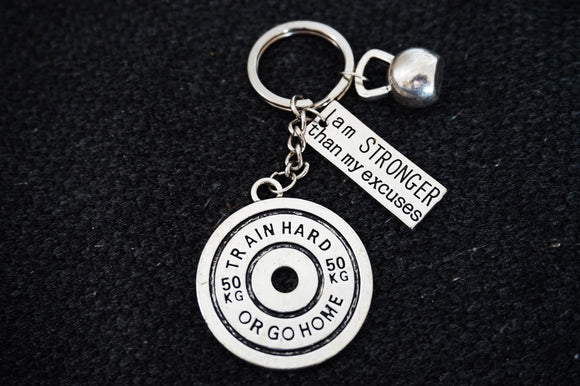 Train Hard or Go Home +Kettlebell +I am stronger than my Excuses Keychain