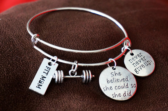 Expandable Wire Bangle FITMOM with barbell and motivational charms