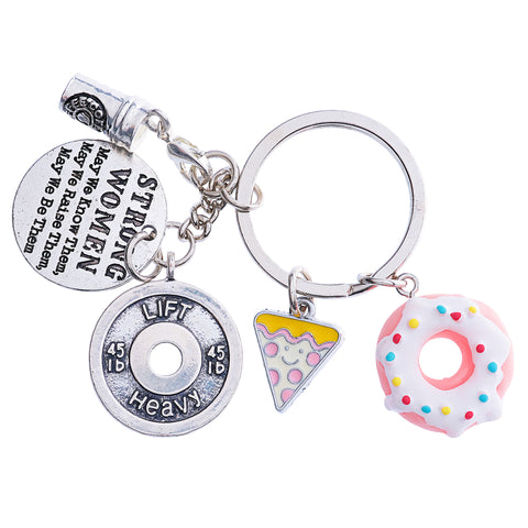 """ DONUTS keychain with Fitness and motivational Charms "" Keychains"