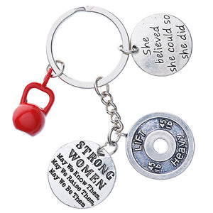 """RED KETTLEBELL and motivational and fitness charms"" Keychain"