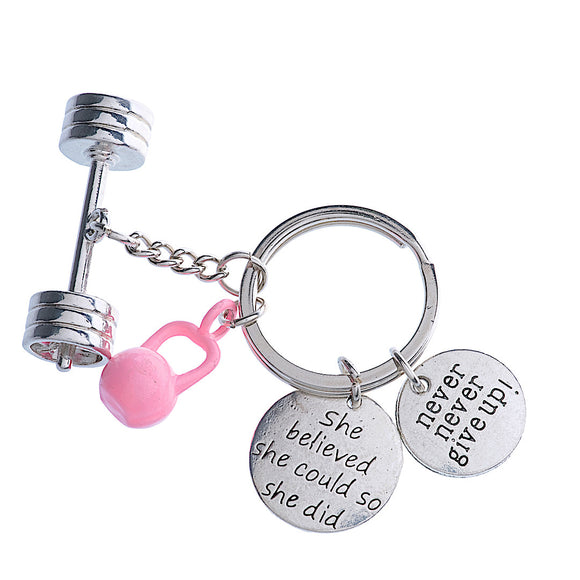 3D Barbell / She Believed She could SO She Did + Pink Kettlebell/Never never give up Charms