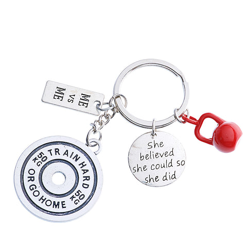 """ Train Hard or Go HOME charm with fitness and motivational charms"" Keychain"
