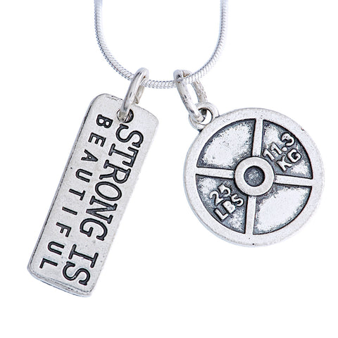 "925 Sterling Silver Necklace ""Strong is Beautiful/ 25lb plate"""