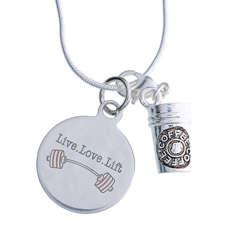 "925 Sterling Silver Necklace ""Live,Love,Lift"""