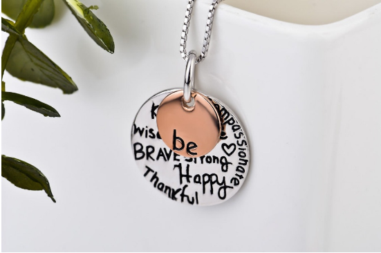 925 Sterling Silver Necklace Be Brave Strong Happy Inspiration Message Pendant