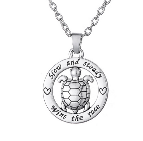 """Slow and Steady Wins The Race"" with Cute Turtle Pendant Silver Necklace"
