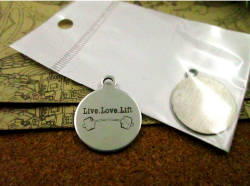 1 pc LIVE, LOVE, LIFT stainless steel charm