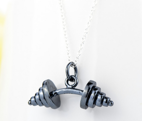 "925 Sterling Silver Necklace "" Barbell """