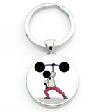 """Weight Lifting"" silhouette keychain"