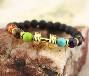 Lava Nature Stone Dumbbell Bracelet