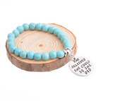 Turquoise Beaded Bracelet with Motivational Charms