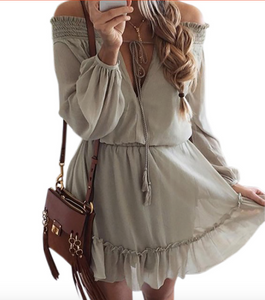 Boho Chiffon Ruffle Dress