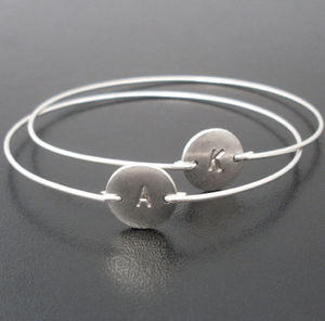 Personalized Initial Wire Bangle 1 piece
