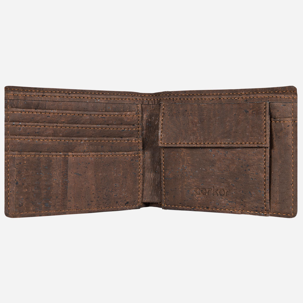 Cork Wallet With Coin Pocket brown