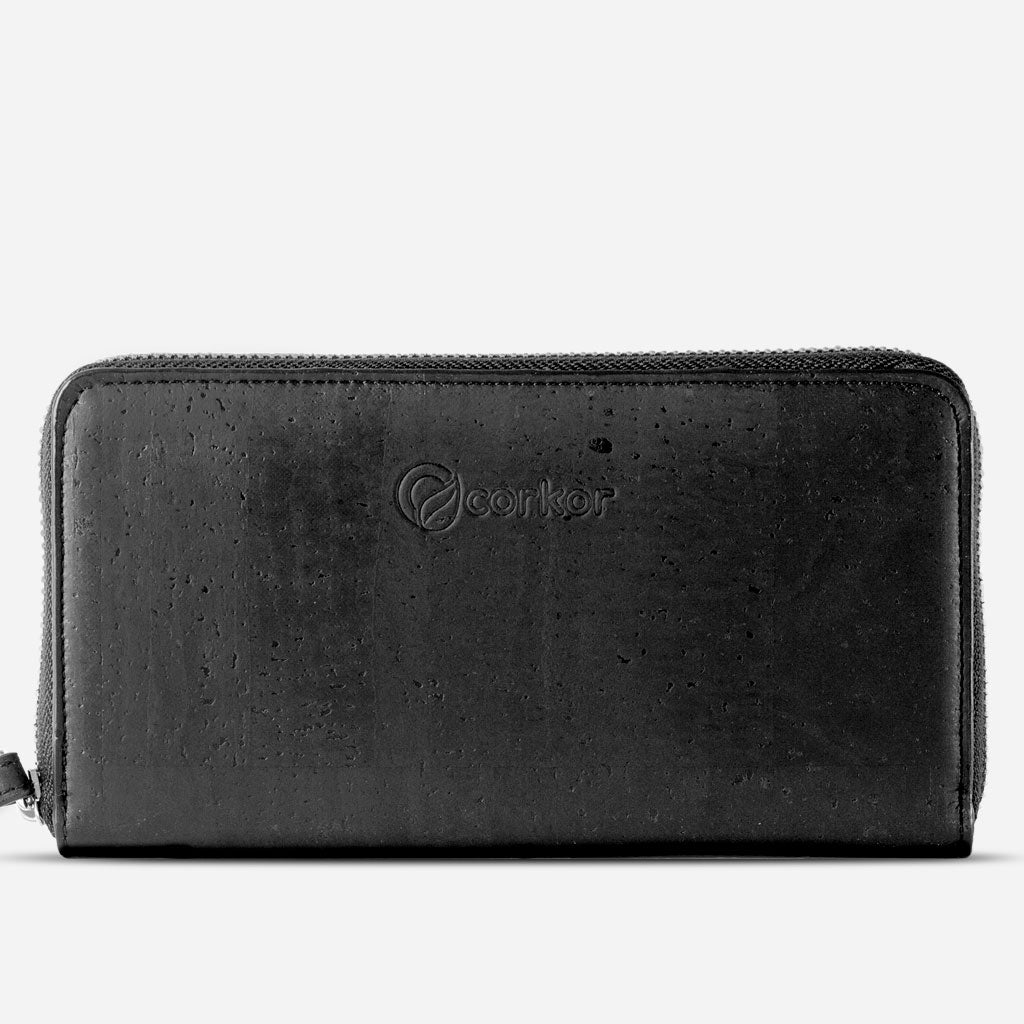 Women Cork Wallet Long Black