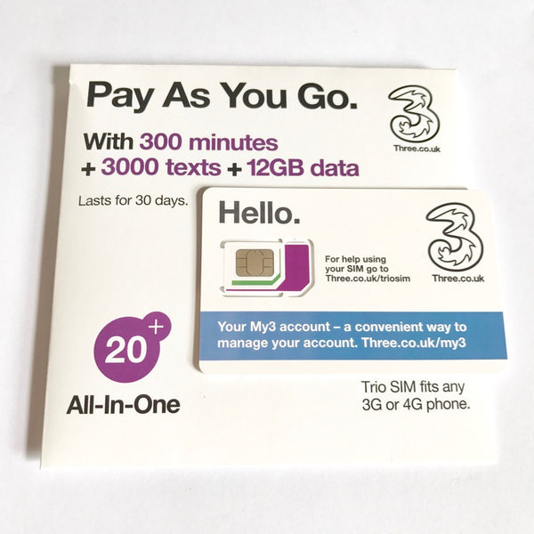 3 UK Prepaid PAYG Phone SIM