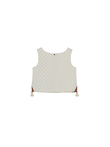 Soho Tank Top in White Basket Weave