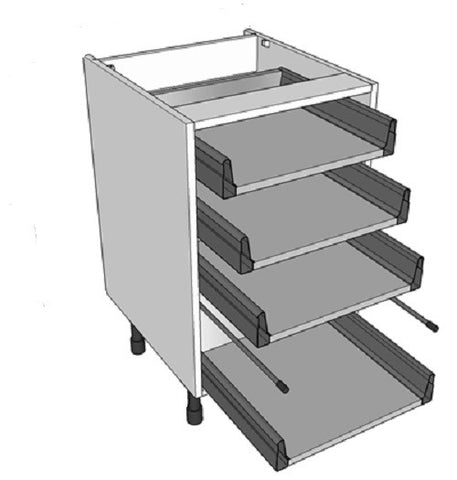 Kitchen Drawer Cabinet Inc 4x Shallow Drawers