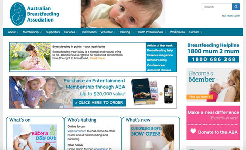 australian breastfeeding association home page