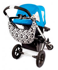 kisskiss hughug portable nursing pillow hanging on the back of a pram