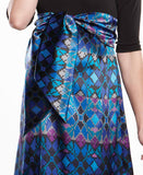 Maternal America Scoop Neck Front Tie Dress Blue Mosaic