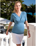 Seraphine Pleated Nursing Top breastfeeding access blue