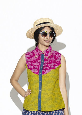 Avocado and Plum Cloud Sleeveless Shirt
