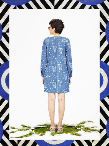 Denim Elephant Shift Dress